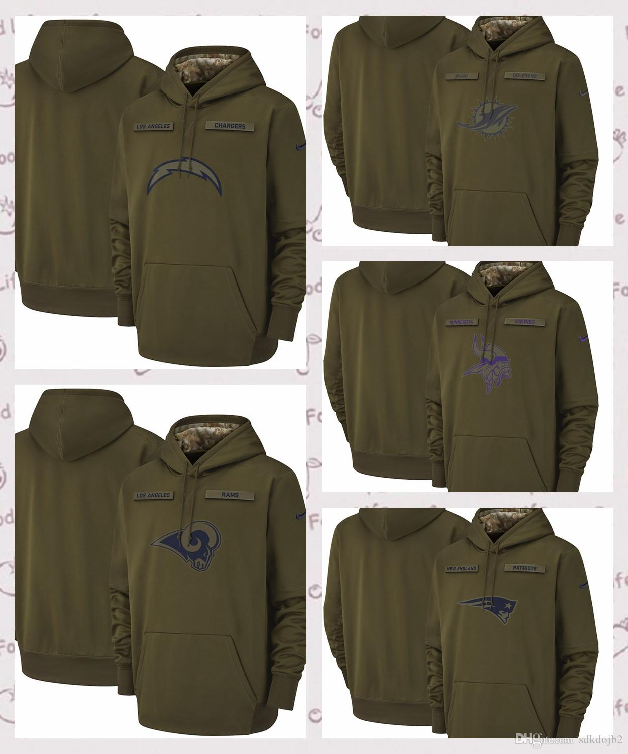 2019 Minnesota Vikings Miami Dolphins Los Angeles Chargers Los Angeles Rams  Salute To Service Sideline Therma Performance Pullover Hoodie Olive From ... 7cacda2c3