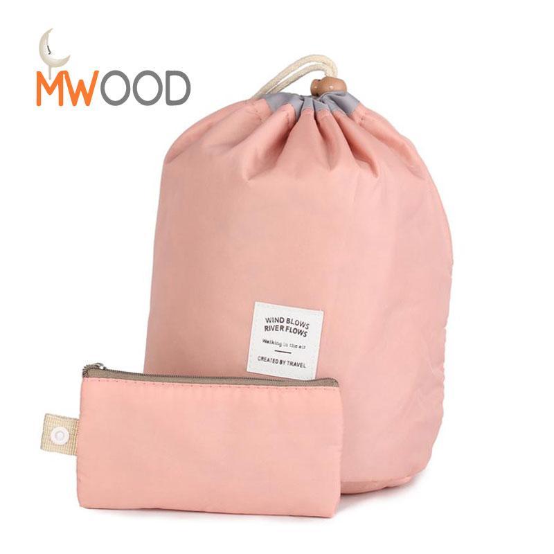 57a2fb21d955 Moon Wood 2 PCS/Set Women Drawstring Makeup Bags Waterproof Foldable  Cosmetic Toiletry Pouch Barrel Shaped Travel Beauty Case