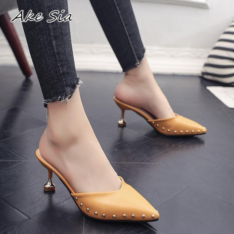 705b1b0c39e79 Candy Colored Slippers 2019 Summer New Pointed Rivets With High Heels Flip  Flops Slippers Female Sandals Sandalias Femenina S084 Designer Shoes High  Heel ...