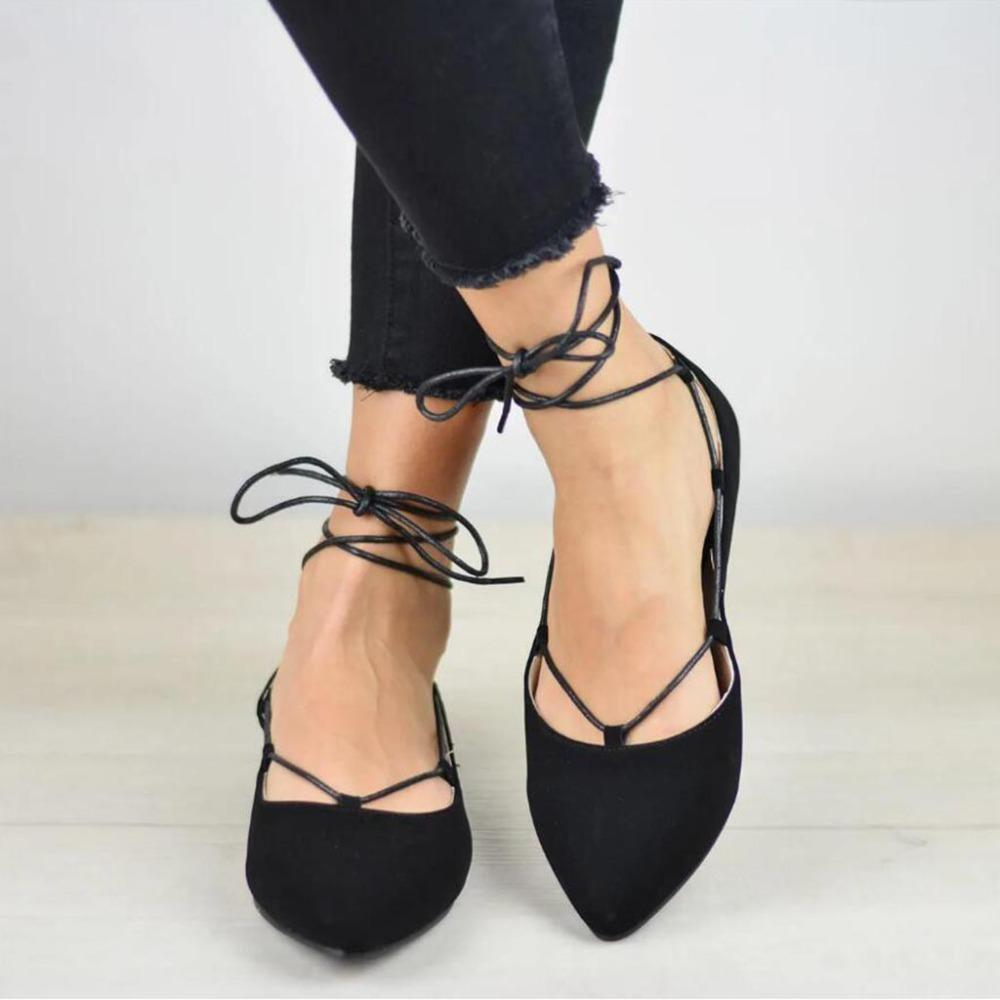KLV High Quality New 2019 Slim Sexy Pointed toe Flats Shoes Women Lace-Up Flat Heel Fashion Womens Flats Brand Shoes Plus Size
