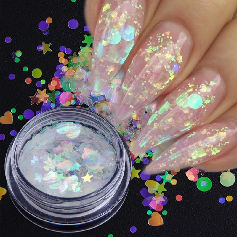 1 Box Ab Color Nail Paillette Mermaid Nail Flakes Glitter Manicure ...