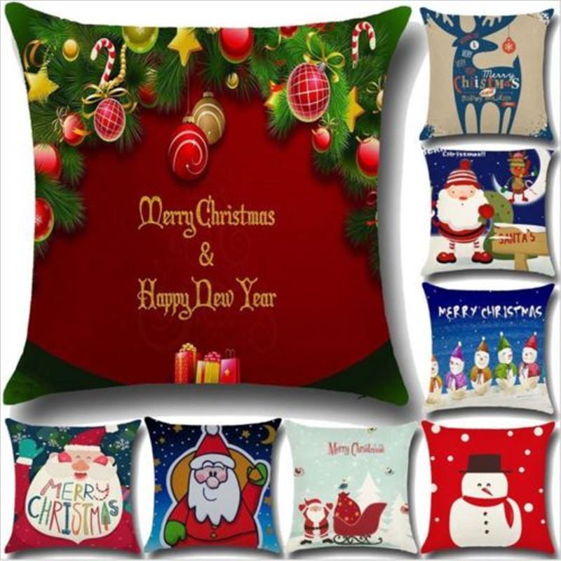 Coton Lin Père Noël amovible antipoussière Taie Coussin Couverture 45x45cm
