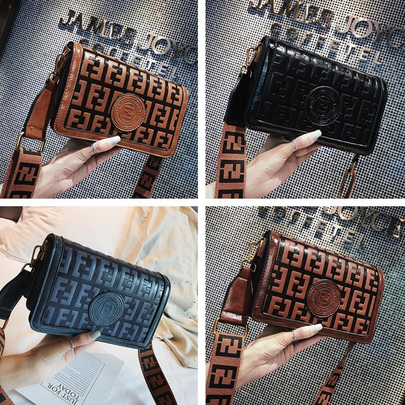 FF Printed Messenger Bag Woman Handbags Purses Boutique Vintage Wide Shoulder Strap Fashion Shoulder Bags PU Lady Handbag Purse SALE C42402