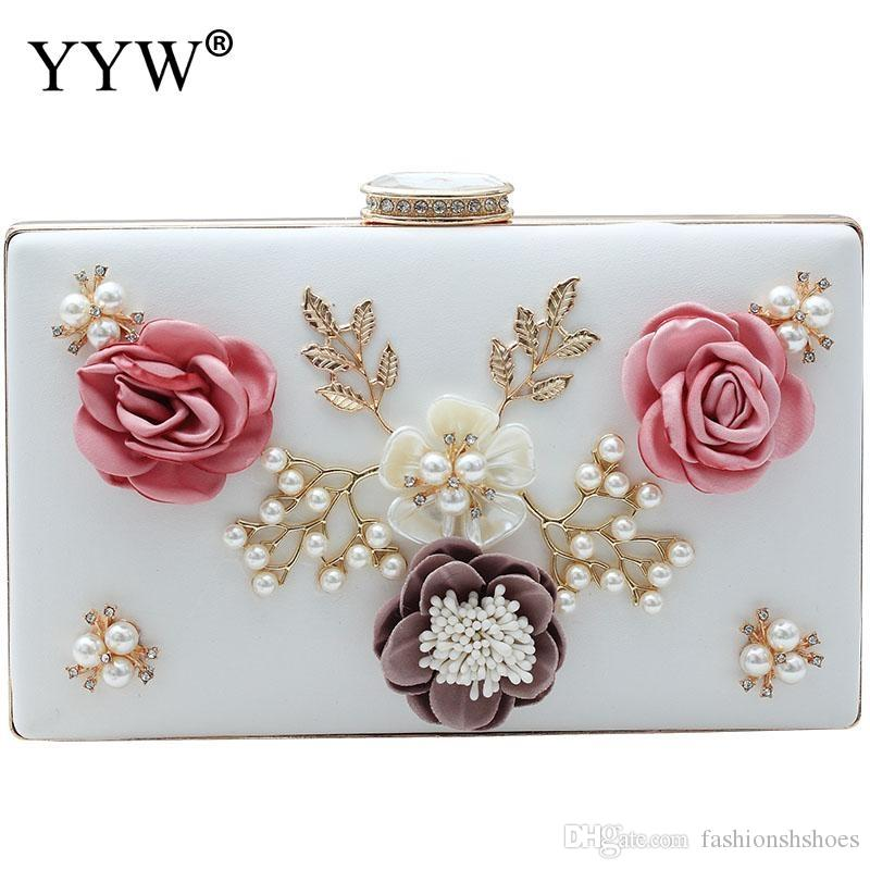 ab9dcb1dbe YYW High Quality Pu Leather Box Bag Clutch Bag With Rhinestone Women Floral  Plastic Pearl Clutches Evening Purse Shoulder Bags #274787 Pink Handbags  Red ...