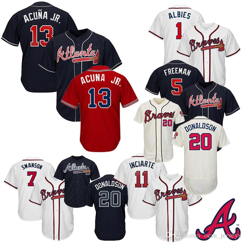 huge selection of aeb58 97077 Men s Atlanta 2019 Braves Jersey Baseball Jerseys 13 Ronald Acuna Jr. 5  Freddie Freeman 7 Dansby Swanson 1 Ozzie Albies Size S-XXXL