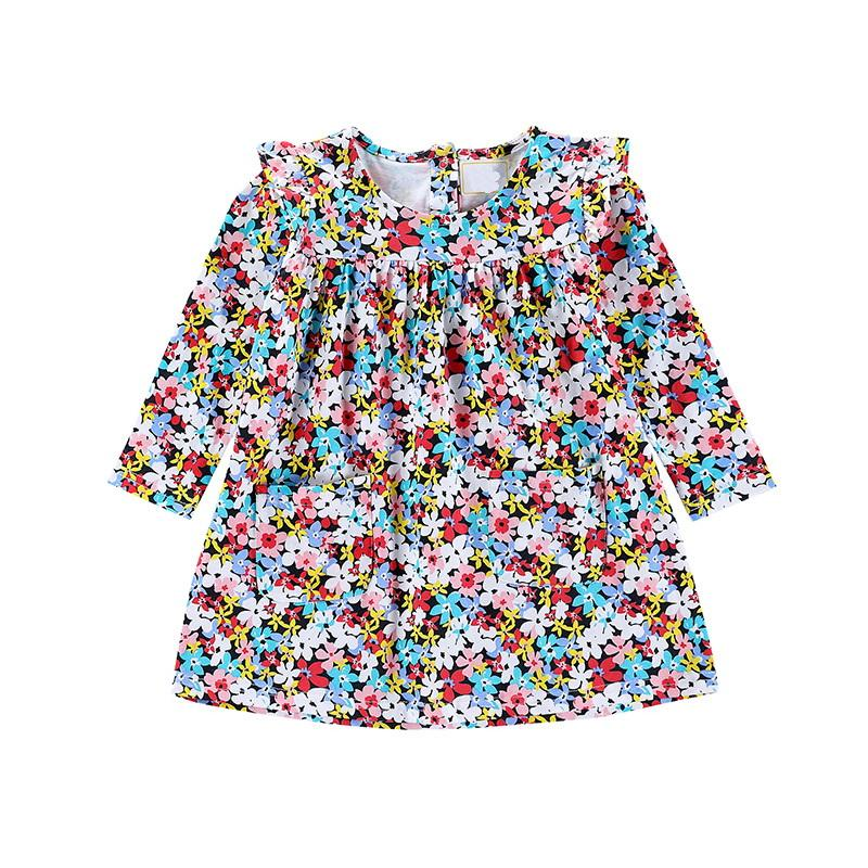 Multicolor Floral Kid Designer Clothes Girls Pleated Long Sleeve Dress Princess Skirt With Buttom Back Up Design Shift Skirt
