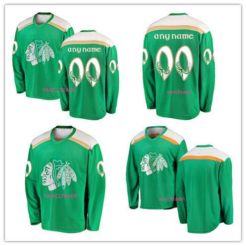 buy online 79209 9688c Coustom Green 2019 St. Patrick s Day Jersey 19 Jonathan Toews 68 Slater  Koekkoek 50 Corey Crawford 88 Patrick Kane Chicago Blackhawks Jersey