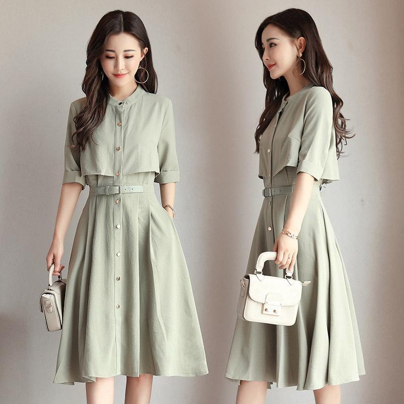 c22f6200f5 2019 summer new women's dress Korean version show thin A skirt spring and  summer chiffon dress