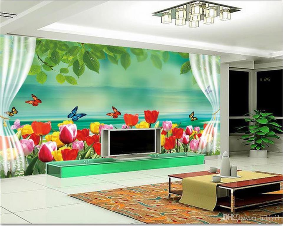 custom size 3d photo wallpaper living room 3d wall mural romantic dreamy tulip window picture sofa TV backdrop wallpaper non-woven sticker