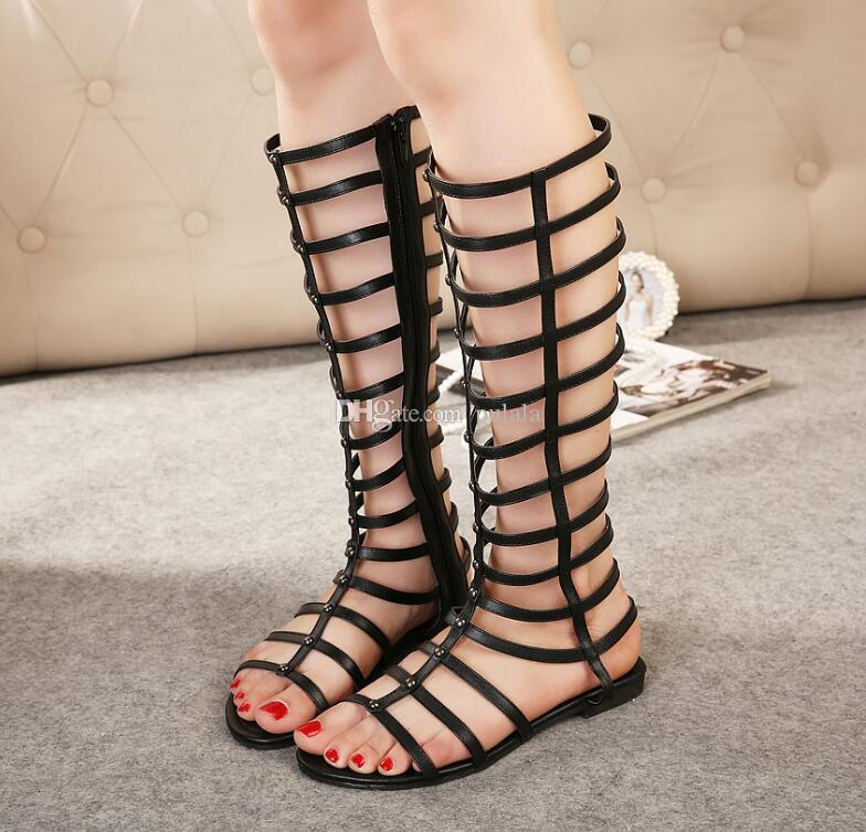 Newest 2019 luxury brand design PU skin Women Stud Sandals Slingback Pumps Ladies Sexy Flat bottom Fashion rivets Rome shoes 2 Colors