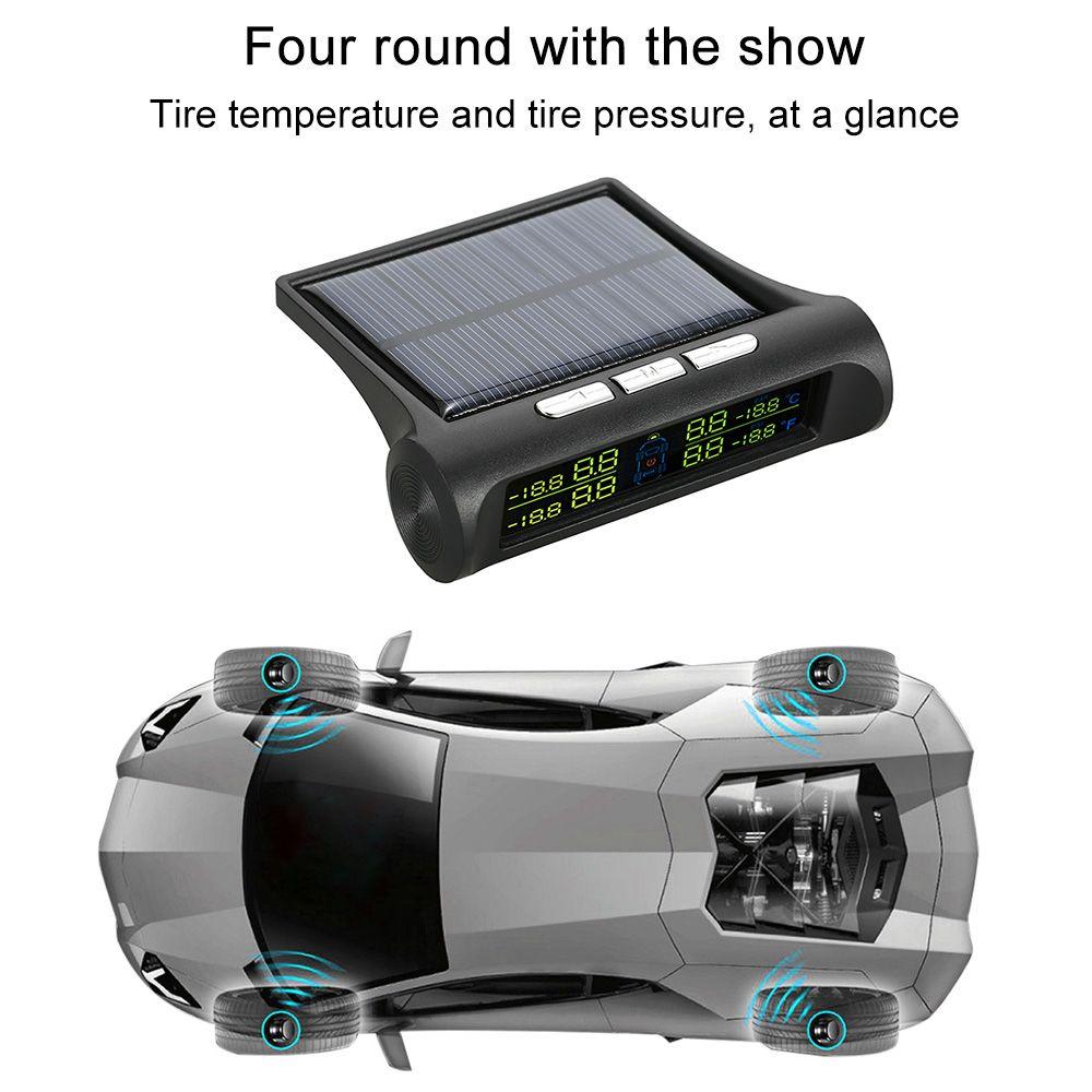 Freeshipping Wireless Solar Auto Reifendruckkontrollsystem DIY TPMS mit 4 externen Sensoren Bar / PSI-Einheit