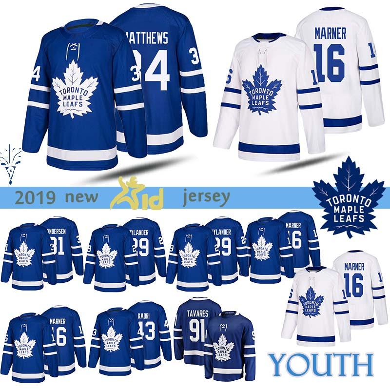 new concept 9ca24 e1643 YOUTH Toronto Maple Leafs jersey 91 John Tavares 16 Mitch Marner 34 Auston  Matthews 19 Joffrey Lupul Hockey Jerseys Kids
