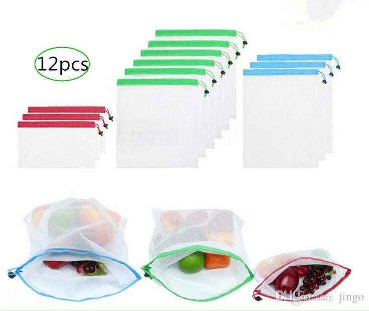 DHL 12pcs/set S/M/L Reusable Produce Bags Mesh Bags Fruit Vegetable Mesh  Storage Bags Washable Home Pouch 12=3pcs*S 6pcs*M 3pcs*L