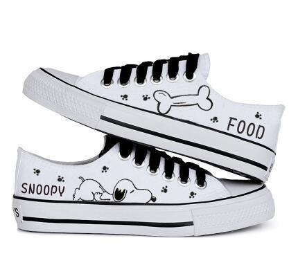 2016 hot sale summer women casual shoe snoopy rascal rabbit hand-painted canvas shoes low shallow mouth black lacing canvas shoes female