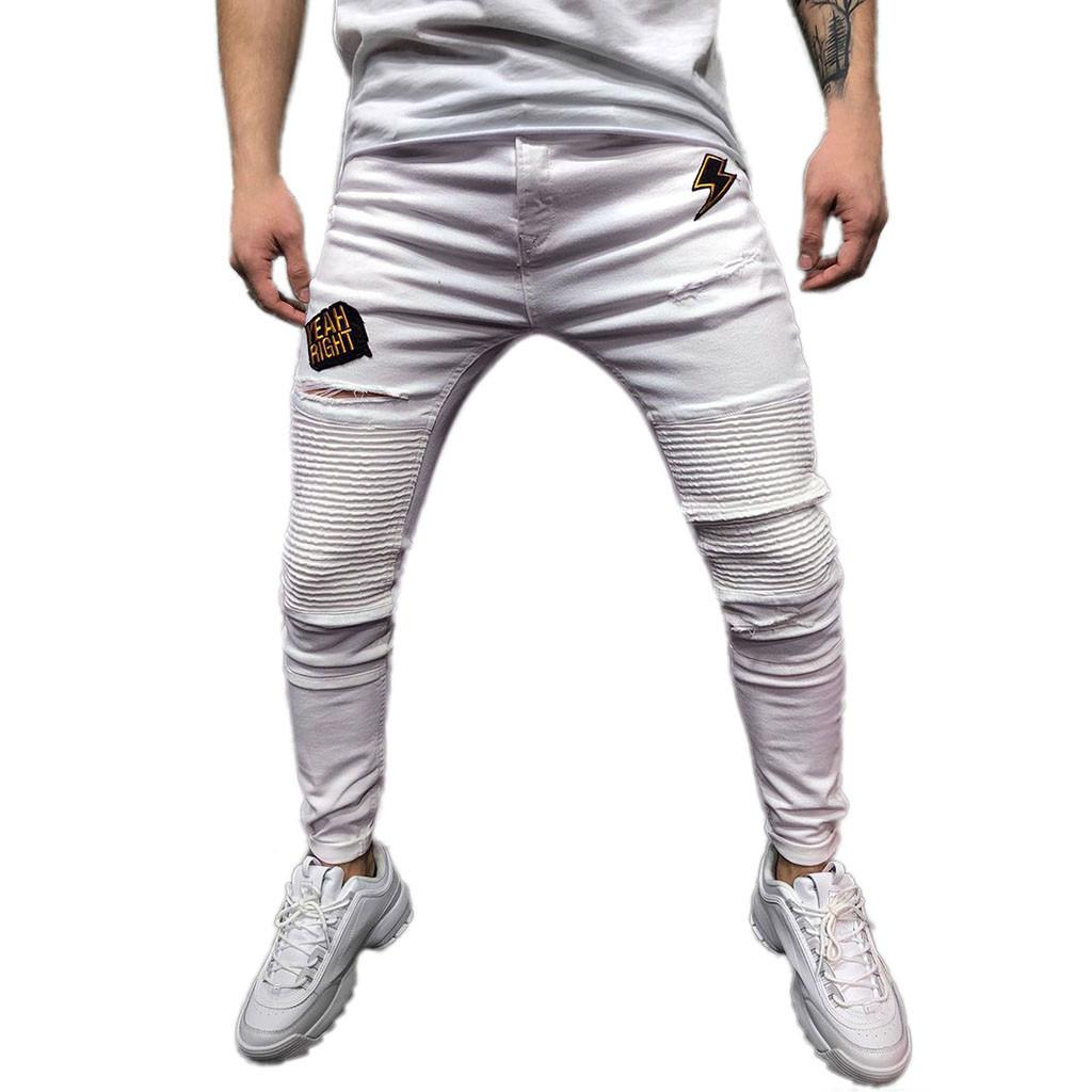 4a7ac548a9 2019 New Jean Men 2019 Slim Mens Skinny Stretch Denim Pants Pleated Ripped  Freyed Slim Fit Jeans Homme Trousers Vaqueros Hombre 5 From Jujubery