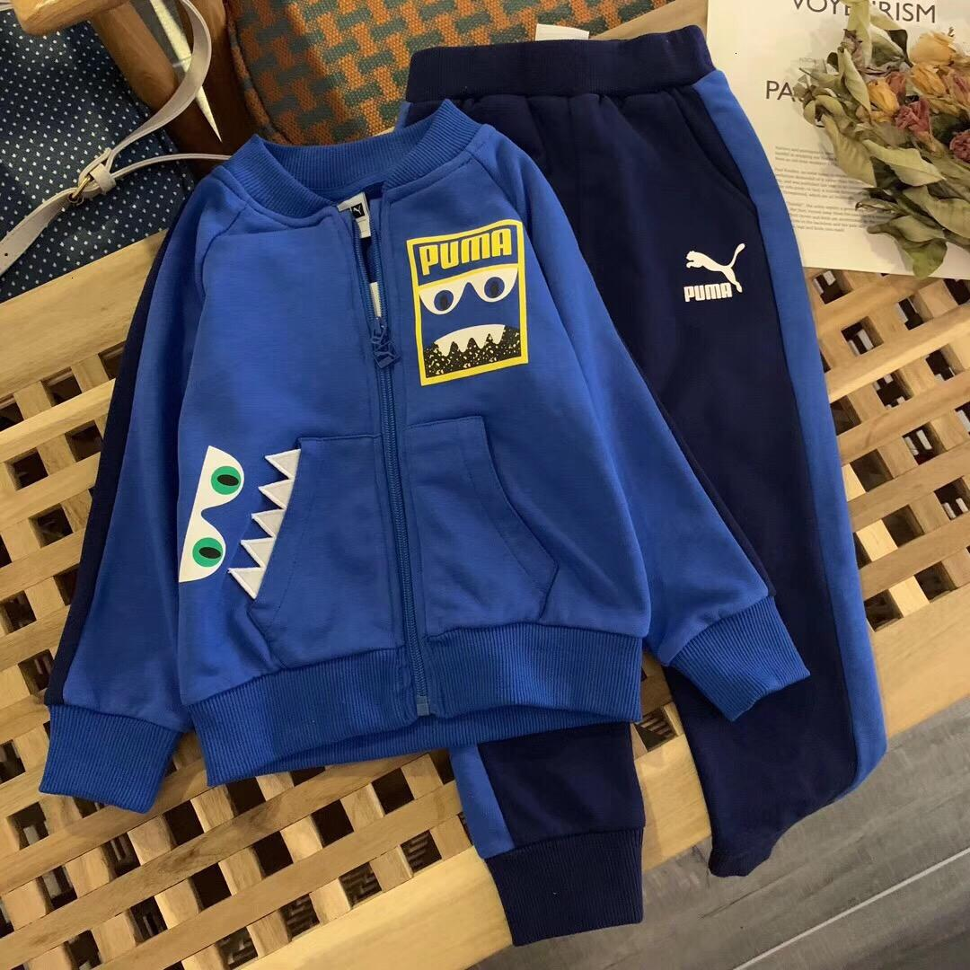 Boy set children designer clothing 2019 autumn cute little dinosaur print cardigan + trousers 2pcs fashion casual exquisite comfort boy suit