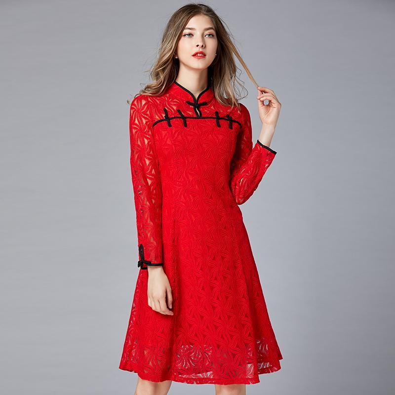 f4265fe6eea Artı Boyutu Kırmızı Dantel Uzun Kollu Tunik Cheongsam Elbise Kadınlar Zarif  Çin Vintage Seksi Ofis Parti Moda Elbise Bayan Giyim
