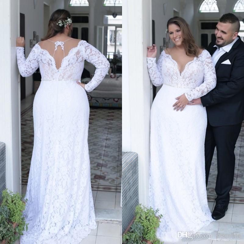 2019 Vintage Lace Plus Size Wedding Dresses 2019 Plunging V Neck A Line  Long Sleeves Bridal Gowns Vestido De Novia Country Wedding Gowns