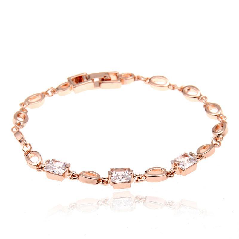 49125dd640c8f Simple Rose Gold Bracelet For Girls Link Chain Rhinestones Bracelets  Fornite Bileklik Fashion Jewelry Bracelets Cadeau Maitresse
