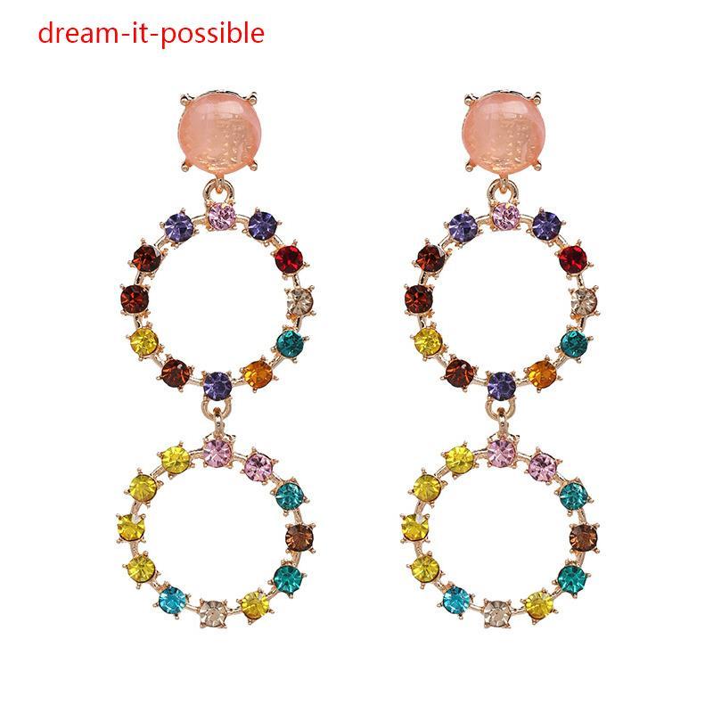 1b0ced91044ed Dream-it-possible Big elegant trendy unique crystal stone gem gold hoop  geometric earring long jewelry fashion for woman 2018