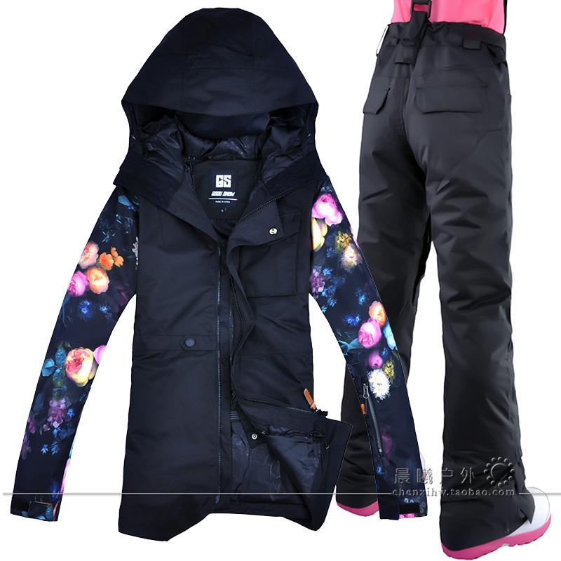 bd28de232dd2 2019 2019 New Women Ski Pants Jacket Printing Flowers Sleeves Snowboard  Suits Snow Board Coat And Trousers Winter Snow Jacket Pants From  Dragonfruit