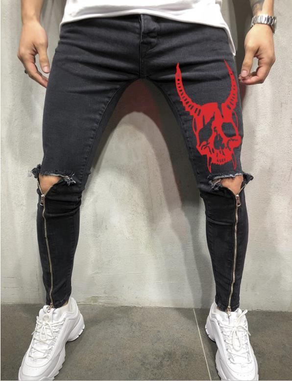 Mens SKULL Designer Jeans Leg Zipper Holes Biker Skateboard Sports Pencil Pants Pantalones