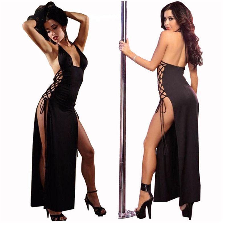 aa6f5bee Mujeres Lencería Sexy Hot Pole Danza Halter Babydoll Vestido Largo Langerie  Sexy Ropa Interior Erótica Lenceria Sexy Cosplay Disfraces D18120802