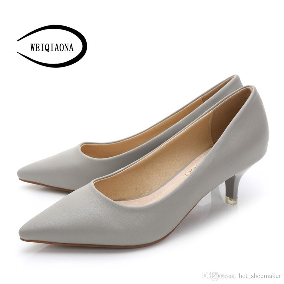 9edce045f0680 WEIQIAONA 34-43 Woman Shoes Genuine Leather inside Low Heels Women Pumps  Stiletto Women s Work shoe Pointed Toe Wedding Shoes #9610