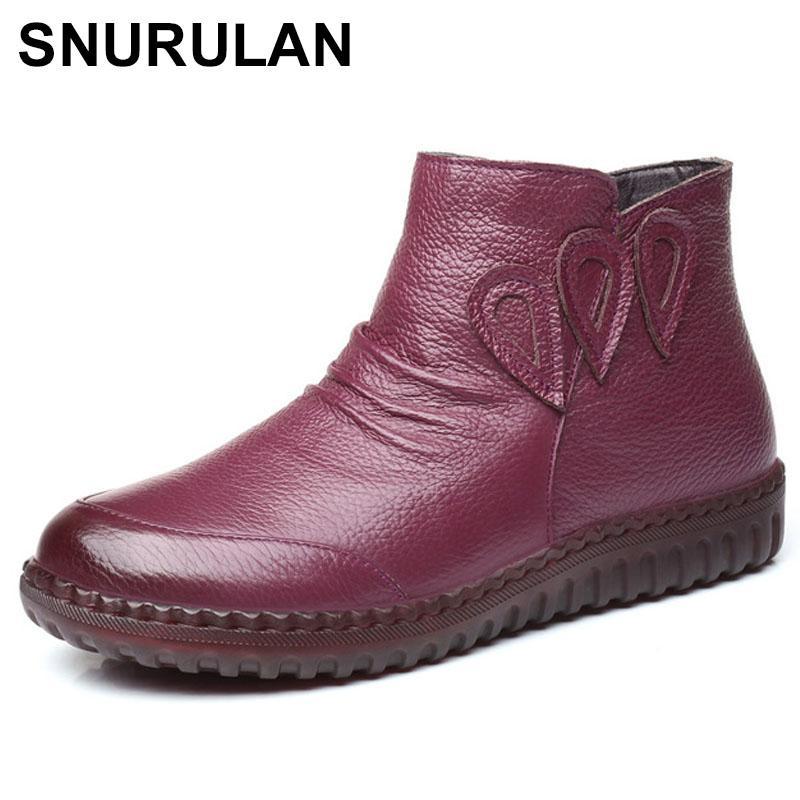 4932935fdad Compre SNURULAN Invierno Mujer Zapatos Mujer Cuero Genuino Botines Planos  Mujeres Impermeables Causal Cálido Botas De Nieve Envío GratisE581 A $77.05  Del ...