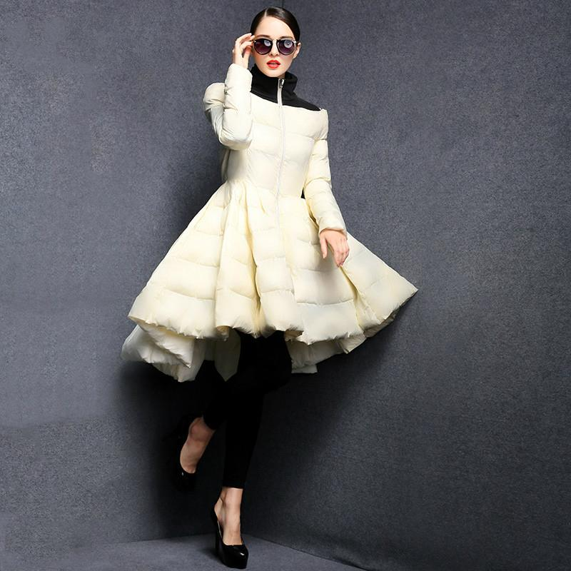 Piumini invernali a pieghe da donna 2019 New Fashion Wave Skirt Slim Warm Long Coat Female Big Swing Outwear Ladies Outwear