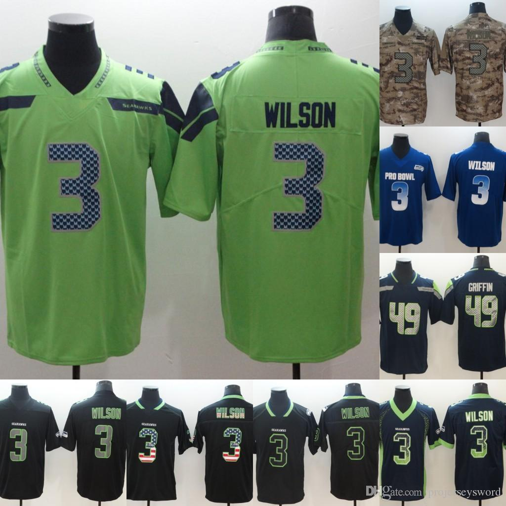 promo code c2baf 956be Mens Seahawks 3 Russell Wilson 49 Shaquem Griffin Football Jerseys Green  Black Blue Camo Cheap Wholesale Fast Shipping Mens S-XXXL