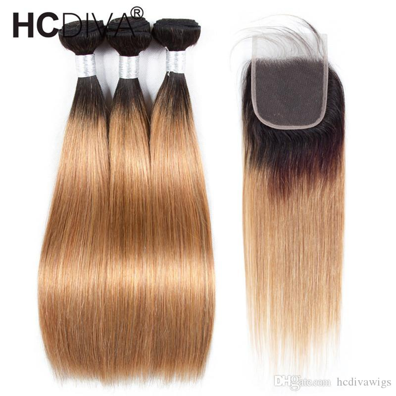 Peruvian Virgin Human Hair Ombre Bundles With Closure Two Tone Dark Roots Honey Blonde Brown Wine Red Colored Human Hair Straight Bundles