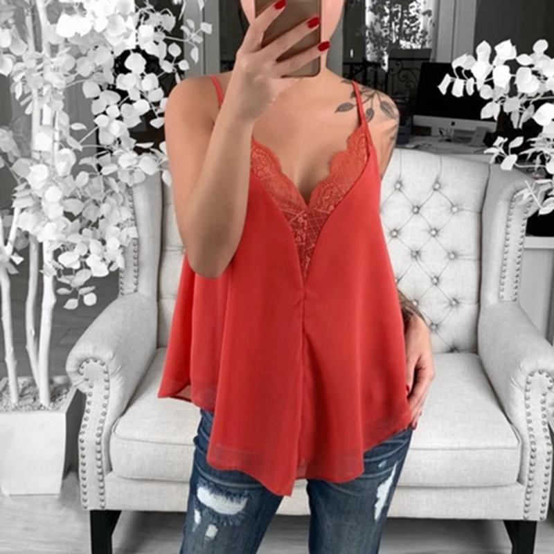 58b3f5c5307b 2019 Summer Sexy Black White Red Lace V Neck Sleeveless Spaghetti Strap  Cami Tank Top Women Clothes Loose Tops Fashion Streetwear From Florence33