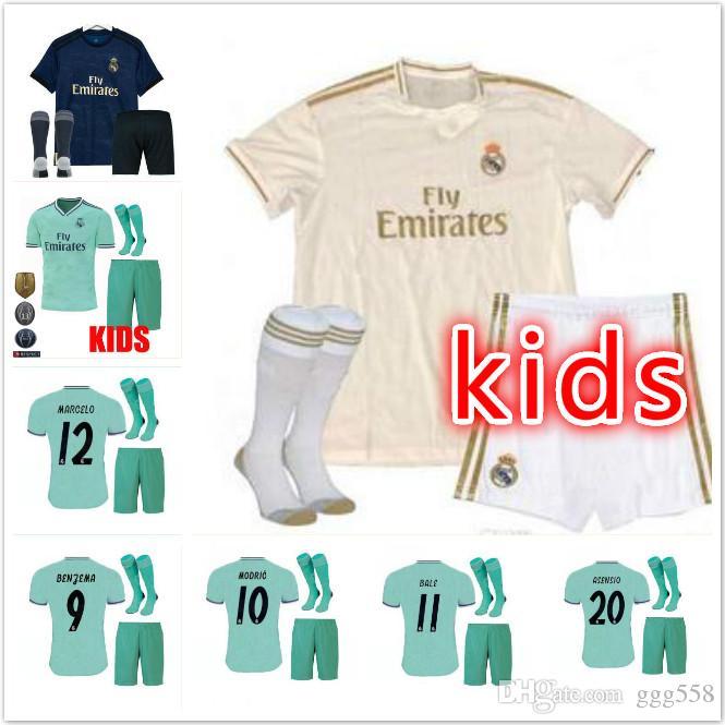 6085167b2 2019 19 20 Real Madrid Kids Soccer Jersey Kits Boys Child Third 2019 2020  HOME Asensio BALE RAMOS Football Shirts AWAY ISCO MARIANO BENZEMA EA From  Ggg558