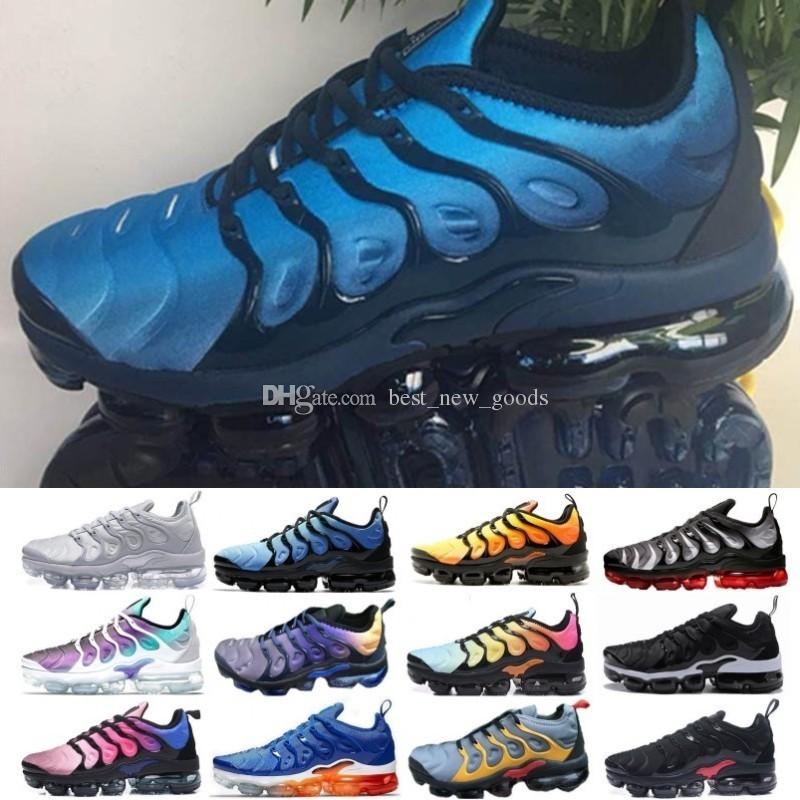 the latest 6e66e b4c51 2019 TN Plus TNS Metallic Olive Red Yellow Black Women Mens Shoes For Men  Running Designer Shoes Sneakers Trainers Size 36-45