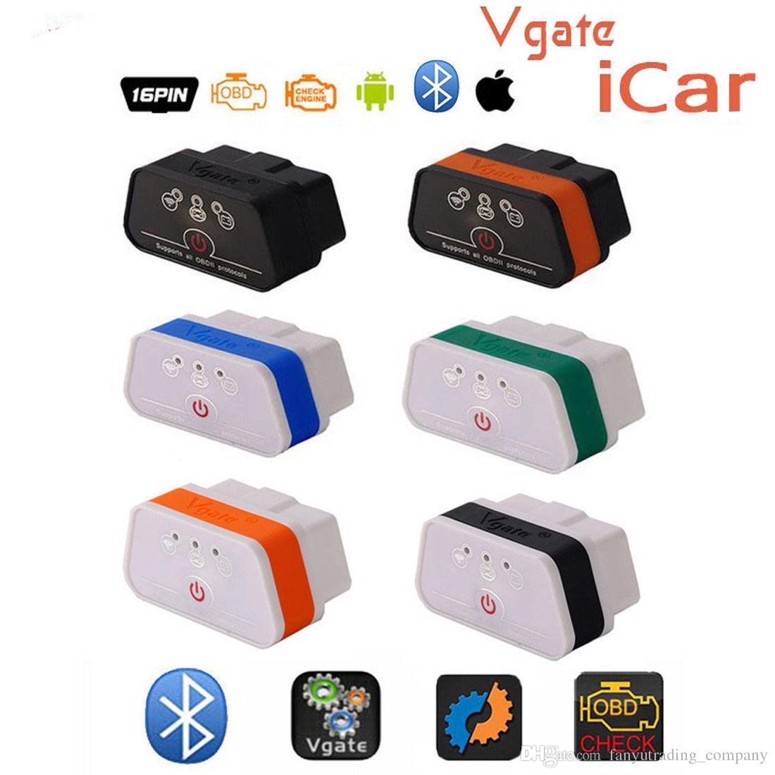 Original ELM327 Bluetooth ICar 2 Self Diagnosis OBDII BT Detector Vgate  Icar2 OBD Elm327 Bluetooth OBD2 Professional Solution DHL Free