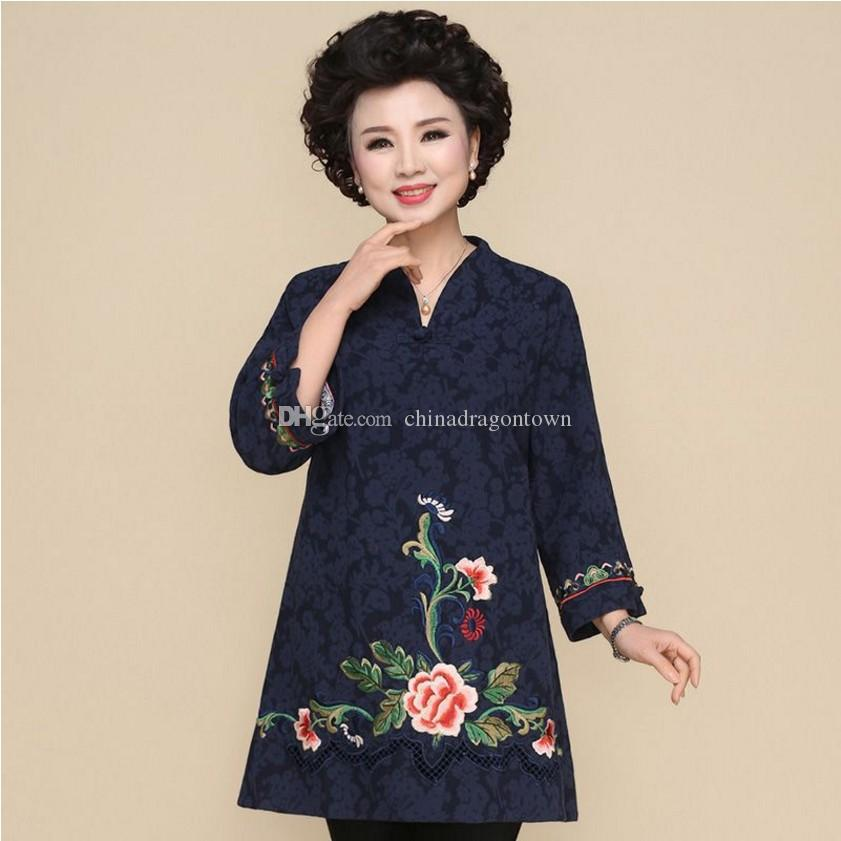 6e37025ed Chinese National Clothing Linen Shirt Blouse Plus Size Tang Suit Retro  Embroidery Chinese Cheongsam Style Traditional Tops For Women UK 2019 From  ...