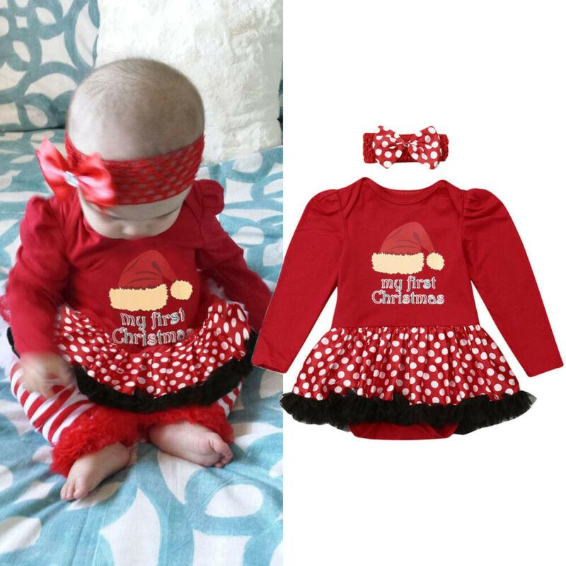 Infant Baby Girl Christmas Romper Fall Long Sleeve Red Tutu Romper Dress Outfit Headband Xmas Set 2020 New Year's Baby
