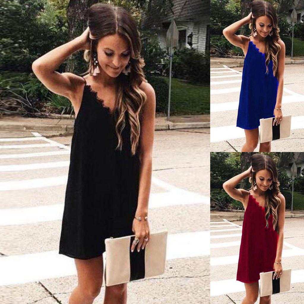 d1696e161d845 Dress Summer Women Sexy Elegant Women Summer Strappy Lace Patchwork Sexy  V-neck Party Beach Dresses ropa mujer verano 2019