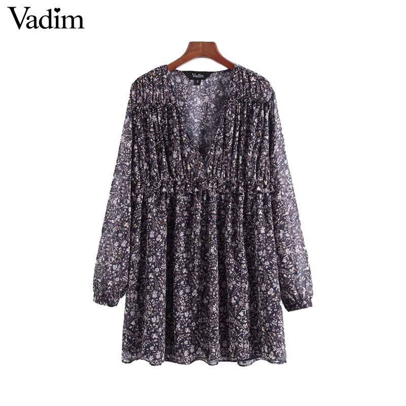 4d573924cf0 Wholesale Women Chic V Neck Floral Pleated Dress Ruffled Long Sleeve  Pleated Female Casual Wear Vintage Dresses Vestidos QA839 Online with   26.7 Piece on ...