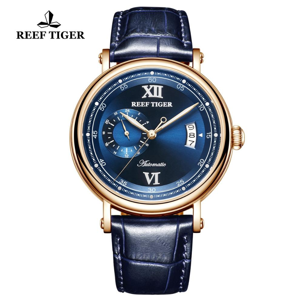 954d233cb5c Compre Reef Tigre   Rt Top Marca De Luxo Relógio 2018 Novos Homens Relógio  Automático Grande Data Azul Analógico Relogio Rga1617 2 De Maocai