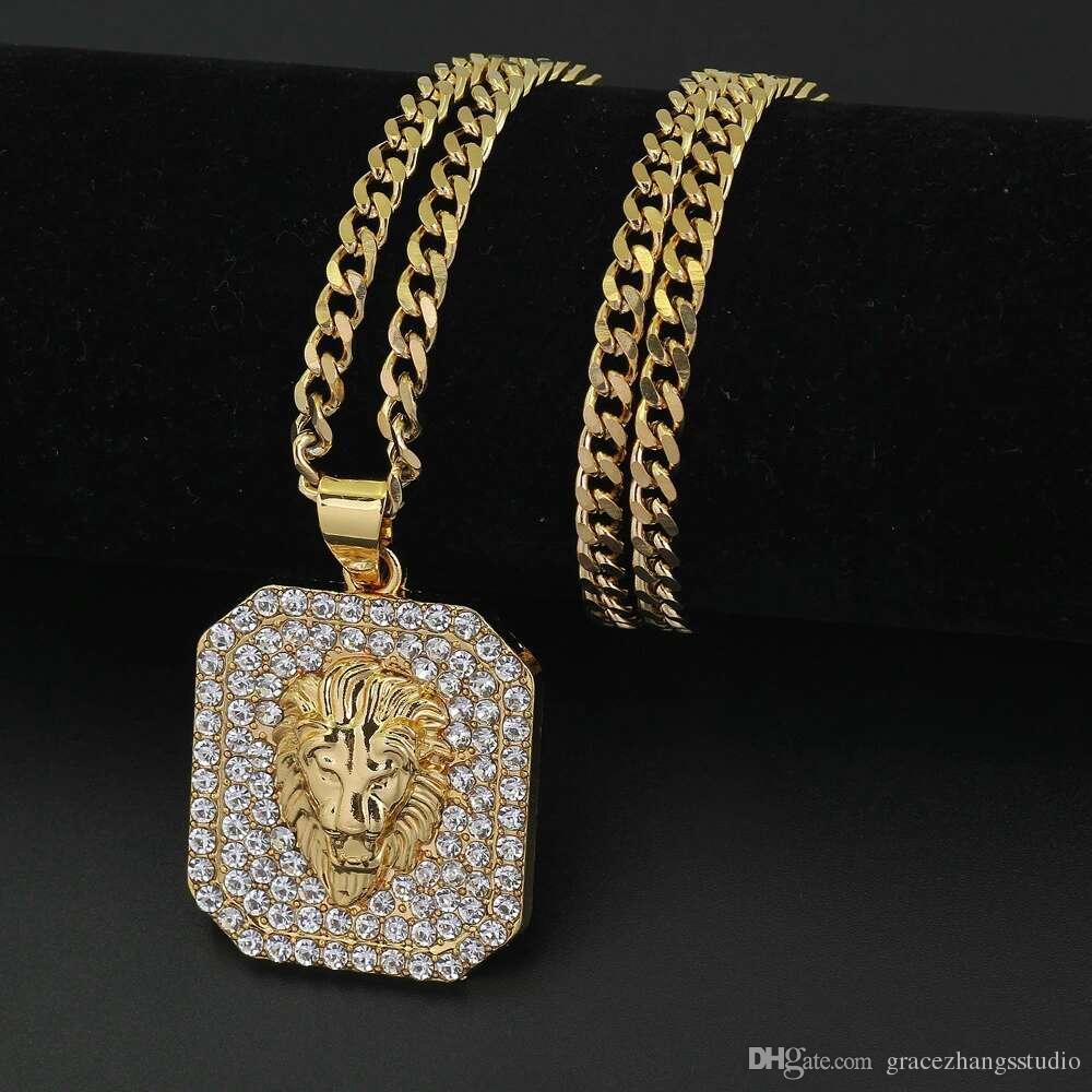 c154ae9c59a9 Compre Hip Hop Cabeza De León Diamantes Collares Colgantes Para Hombres  Animales De Lujo Collar De Acero Inoxidable Cadenas Cubanas Etiqueta De  Perro ...