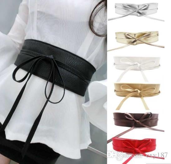b2109e821ade3 Laamei Cummerbunds Strap Belts For Women High Waist Lace Up Pu Leather  Designer Wide Slimming Girdle Belt Ties Bow Bands Slim Belt Obi Belt From  Cxy187, ...