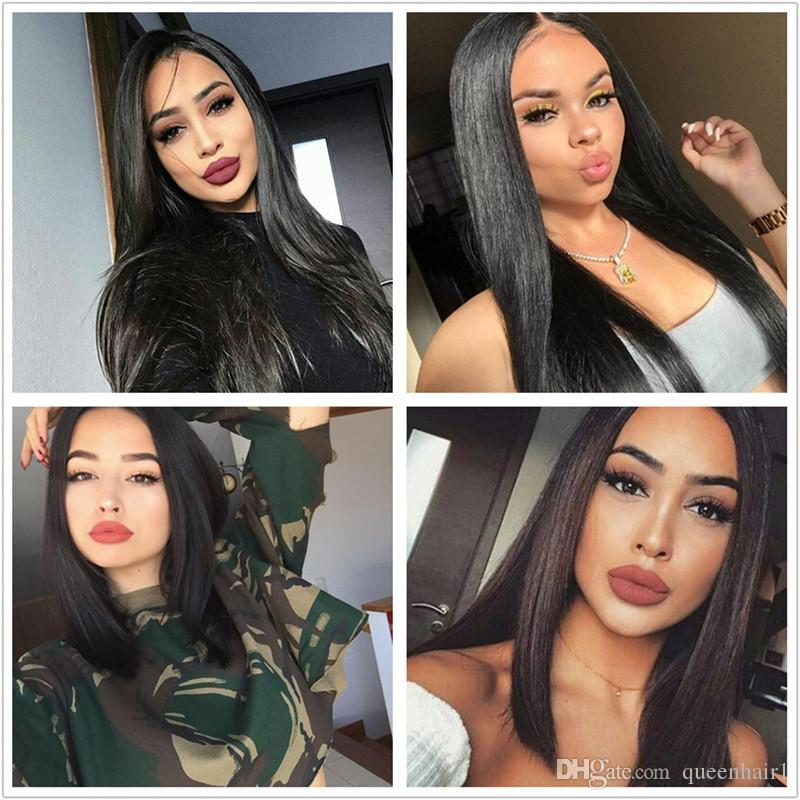 Silk Straight Full Lace Human Hair Wigs With Baby Hairs Best Glueless Wig Human hair Brazilian Wig For black women