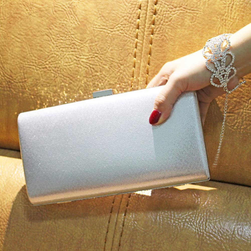 Women Storage Clutch Bag Hasp Carrying Gift Wedding Evening Party Purse With Chain Universal Solid Polyester Diamante Shiny