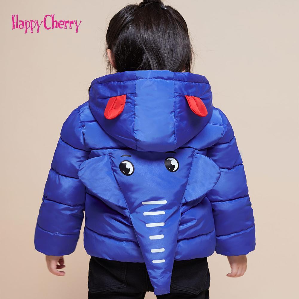 4e7218775717 Children S Outerwear Boys Girls Winter Warm 3D Elephant Hooded Coat ...