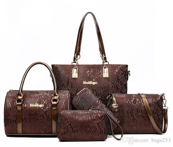 5 set Donna Tote + Shoulder / Messenger + Clutch Composite Bags Borse di alta qualità Serpentine Handbag Designer