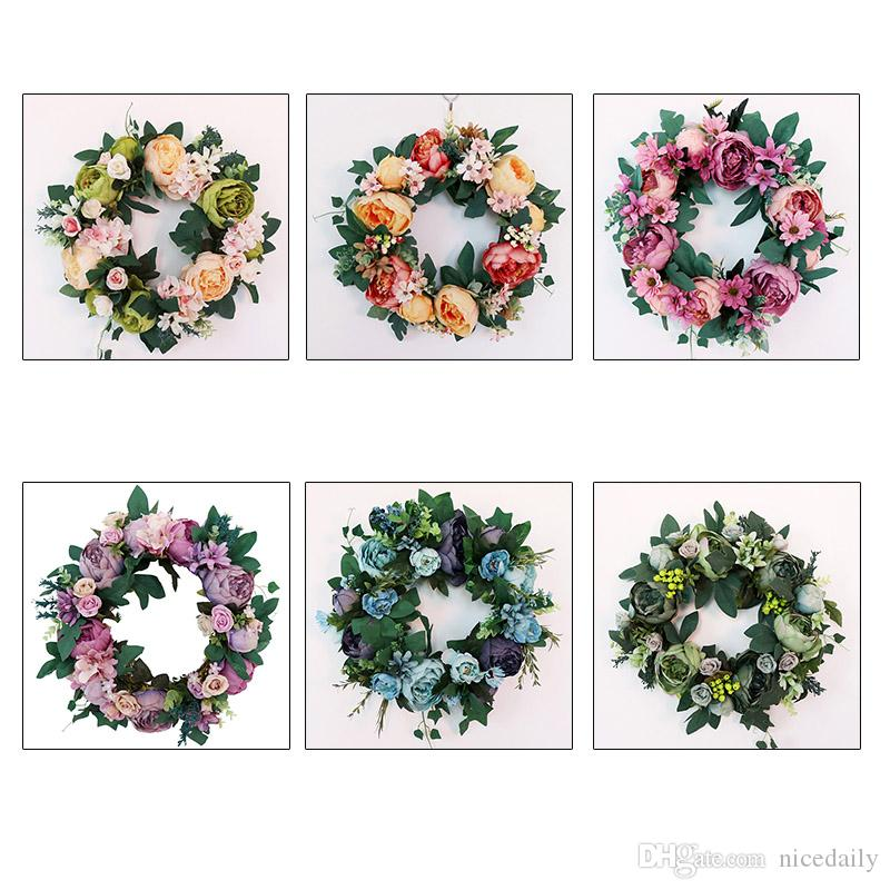 2019 Artificial Peony Flower Wreath Pink Flower Door Wreath With