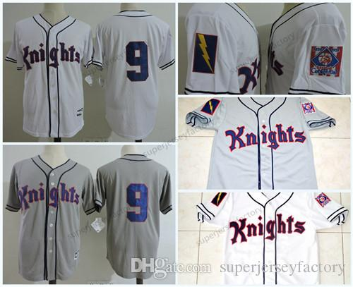 Homens cavaleiros 9 Roy Hobbs Grey Branco The Movie Natural Bernard Malamud costurado O filme 1839-1939 Centennial Baseball Jersey