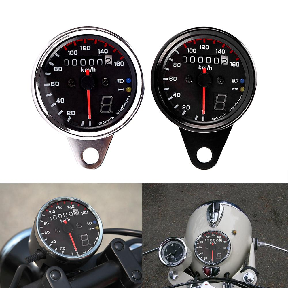 Freeshipping 12V Motorcycle Speedometer Tachometer Gauge w/ LED Backlight  Universal For Moto